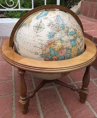 Vintage Replogle World Classic 12 Inch Globe Wood Stand raised
