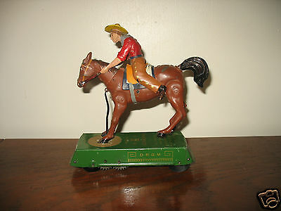 Lovely colours working LEHMANN BRONCO WILD WEST tinplate cowboy Germany tin toy