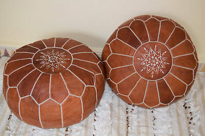 PAIR (2) New Moroccan Leather Ottoman Pouffe Pouf Footstools in CARAMEL TAN