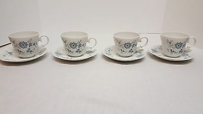 Set of 4 Christina Porcelain Bavarian Blue by Seltmann Weiden Cups w/ Saucers