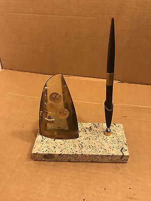 Vintage Canada Souvenir  Granite Base, With Coins in Glass Dome & Pen Holder