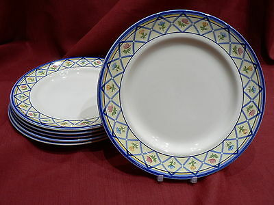 Six Wood and Sons dessert plates - 8 inches -flowers blue lattice on yellow