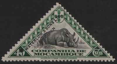 Mozambique Co. 1937 40c Rhino triangular, Waterlow color sample in black & green