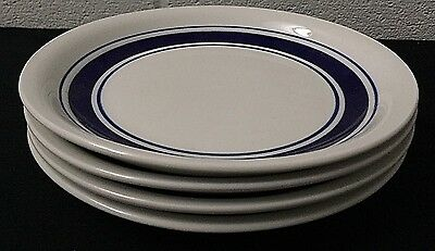 "Set of 4 Mayfair and Jackson White And Blue 7 3/4"" Dessert / Bread Plates"