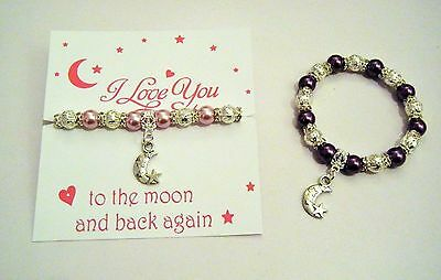 I Love You To The Moon And Back Again Pearl & Silver Charm Bracelet  Ideal Gift
