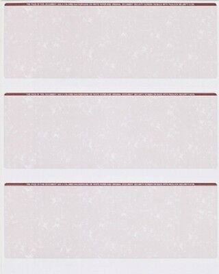 Blank Check Stock Paper - 3 on a Page 500 sheets =1500 checks Marble Burgundy