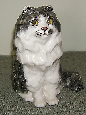 Vintage Large Winstanley Pottery Long Haired Cat Sitting. Size 6