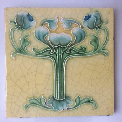 "ORIGINAL ART NOUVEAU EMBOSSED TILE 6""x 6"" C.1905"