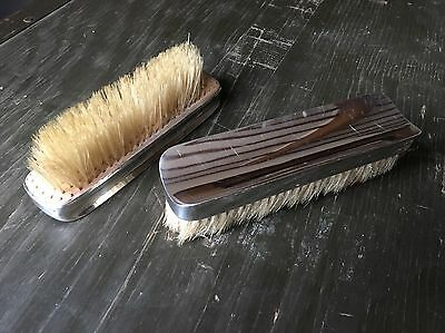 Antique Pair Of Solid Silver Backed Clothes Brushes Walker And Hall 1909