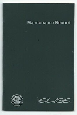 New lotus elise series 1 S1 maintenance record service book Rover