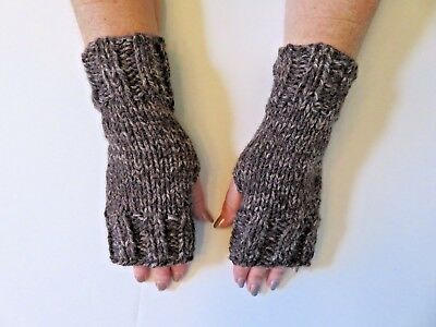 Hand Knit Fingerless Gloves- Wrist Warmers-Coffee Color Heavy Weight Mittens