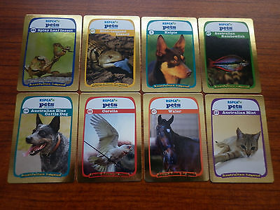 2014 RSPCA PETS & CREATURES Australian Legends set of 8 Gold Cards