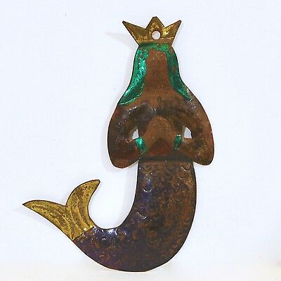 Vintage Mexico Cut Tin Mermaid Queen - Hand-Painted - #6