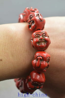 Collectable Handwork Coral Carve Exorcism Buddha Head Happiness Lucky Bracelet