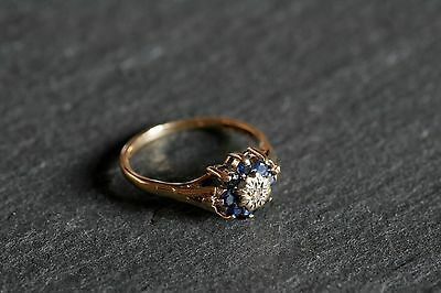 Vintage 9ct Yellow Gold Sapphire And Diamond Cluster Ring Art Deco Style