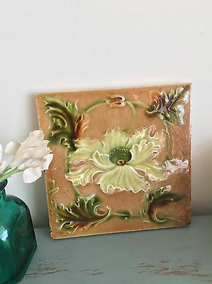 Victorian Antique Vintage Flower Tile