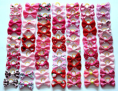 Cute Dog & Puppy Hair Bands Top Knot Grooming Bows Dog Hairclips Accessory