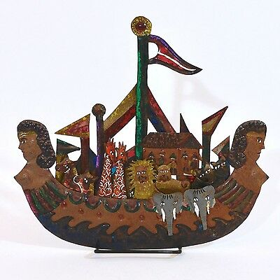 Noah's Ark Vintage Mexico Large Cut Tin in Mermaid Boat - Hand-Painted - #14