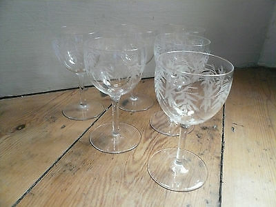 Antique Hand Etched Glass x 6