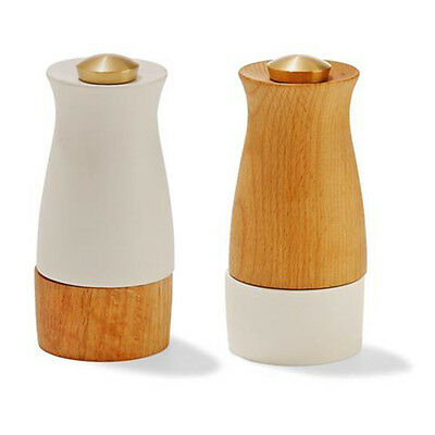 Salt and Pepper Grinder Wood and Ceramic Set Brown White Timber Modern NEW