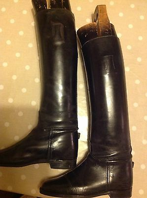 Long Black Leather Riding Boots with wooden trees size 8