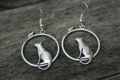 50% Off Clearance Sale! Handmade Antique Silver Cat And Mouse Earrings!