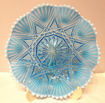 "Davidson~Victoria & Albert~Rd:303519~Blue Pearline~Glass~Crimped~Dish~9~3/8""d"