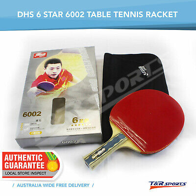 DHS 6002 6 Star Table Tennis Racket Long Handle Paddle Shakehand w/ Carry Case