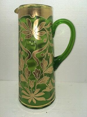 Victorian GREEN  Art Glass Pitcher Gold Hand Painted Colorful Flowers