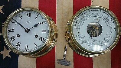 Schatz brass clock and barometer with key