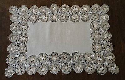 Vintage Set Linen Tenerife Lace Placemats Table Runner Handmade del Sol Nandutti