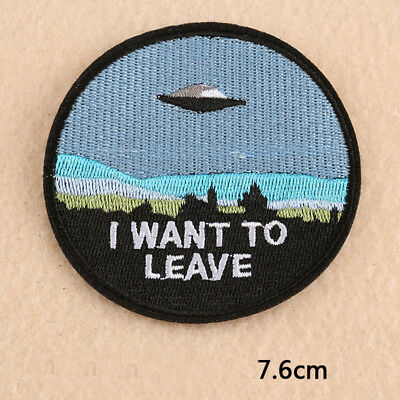 Embroidery UFO Alien Sew Iron On Patch Badge Fabric Bag Hat Clothes Applique DIY