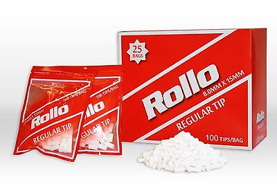 25x RED Original ROLLO Filter Tips Tube Tobacco Cigarette Roller Rolling Paper