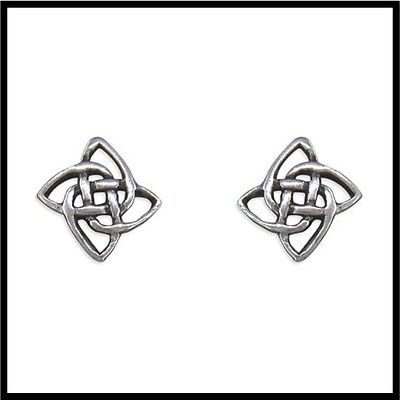 Pair Of Beautiful & Neat Real Sterling Silver Celtic Square Stud Earings