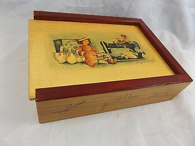 Vintage Brigard Design Wooden Sewing or Trinket Box for Buttons Cotton Needles