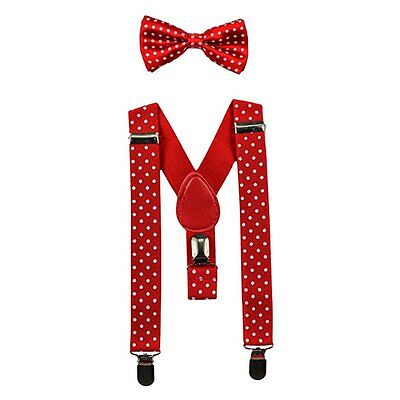 Red Polkadot Matching Suspenders Bow Tie Set Adjustable Elastic Baby to Toddler