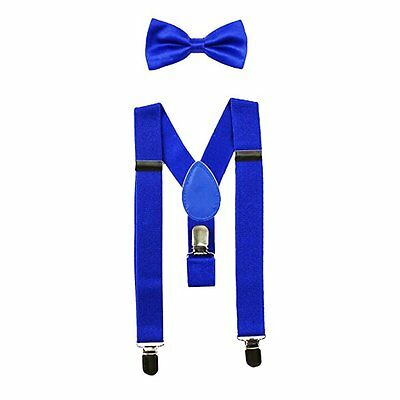 Royal Blue Matching Suspenders Bow Tie Set Adjustable Elastic Baby to Toddler
