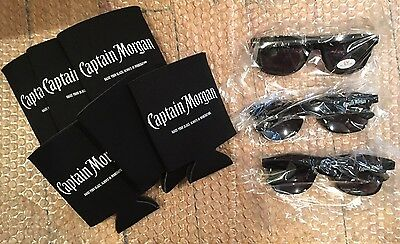 6 Captain Morgan Koozies Coozy Beer Bottle Can 3 Sunglasses Black