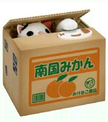 Mischief White Kitty Automated Cat Stealing Coins Money Bank Saving Box PL