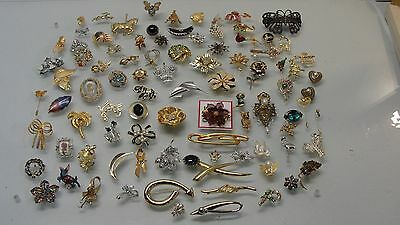 Lot 92 Assorted Brooch Pin Costume Jewelry Flower Owl Elephant Cat Christmas