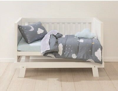 Baby Bedding Set Cot Set 5pc Nursery Comforter Fitted Flat Sheet Cushion cloud