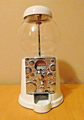 M&M's Candy Dispenser Metal and Glass White 9 inch Retro Bank