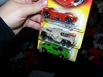 2007 Hot Wheels-3 Different Walmart Only Red Cards-Lotus-Invader-Mega Thrust