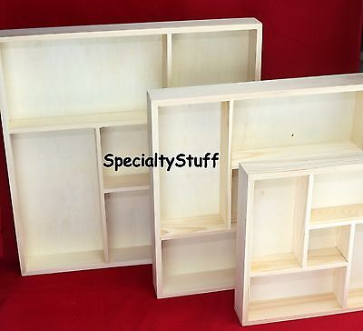 NEW 5 SECTION DIVIDED WOOD TRAY SHADOW BOX UNFINISHED PINE WOOD 3 Sizes U-Pick