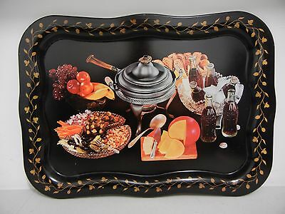 COCA-COLA COKE METAL TRAY 1980's EDITION ADVERTISING PARTY BOTTLES FOOD