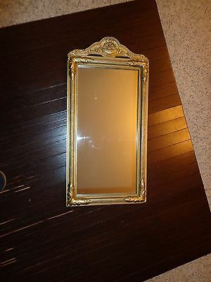 "Old Gilded Gold Ornate Wood & Plaster Framed Mirror,25""h X 12.5'w,euc"