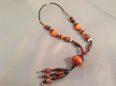 African-Arena Handmade Large Wood Beads Amber Color Large Beads Necklace AA-25