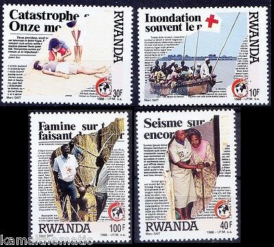 Red Cross, Crescent, Micro Words, First Aid, Rwanda 1988 MNH 4v