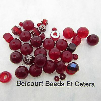 100 Czech Reds Glass Beads Mixed shapes and Sizes Glass 4-10mm in Size