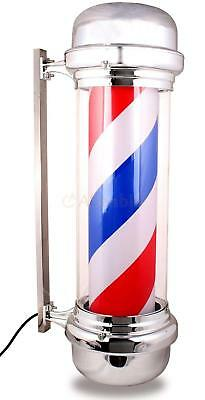 Barber Pole LED Light Red White Blue Stripes Rotating Metal Hair Salon Shop US